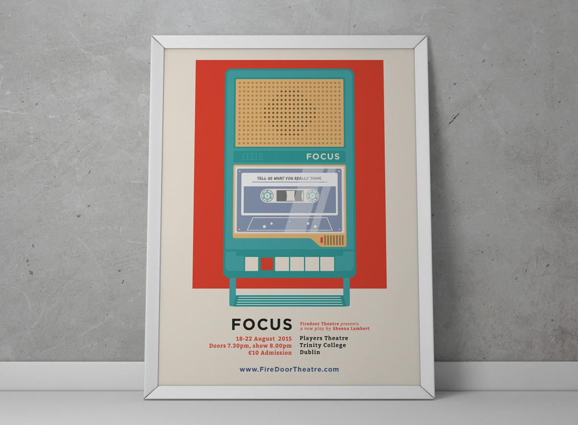 Poster for Firdoor Theatre's play FOCUS