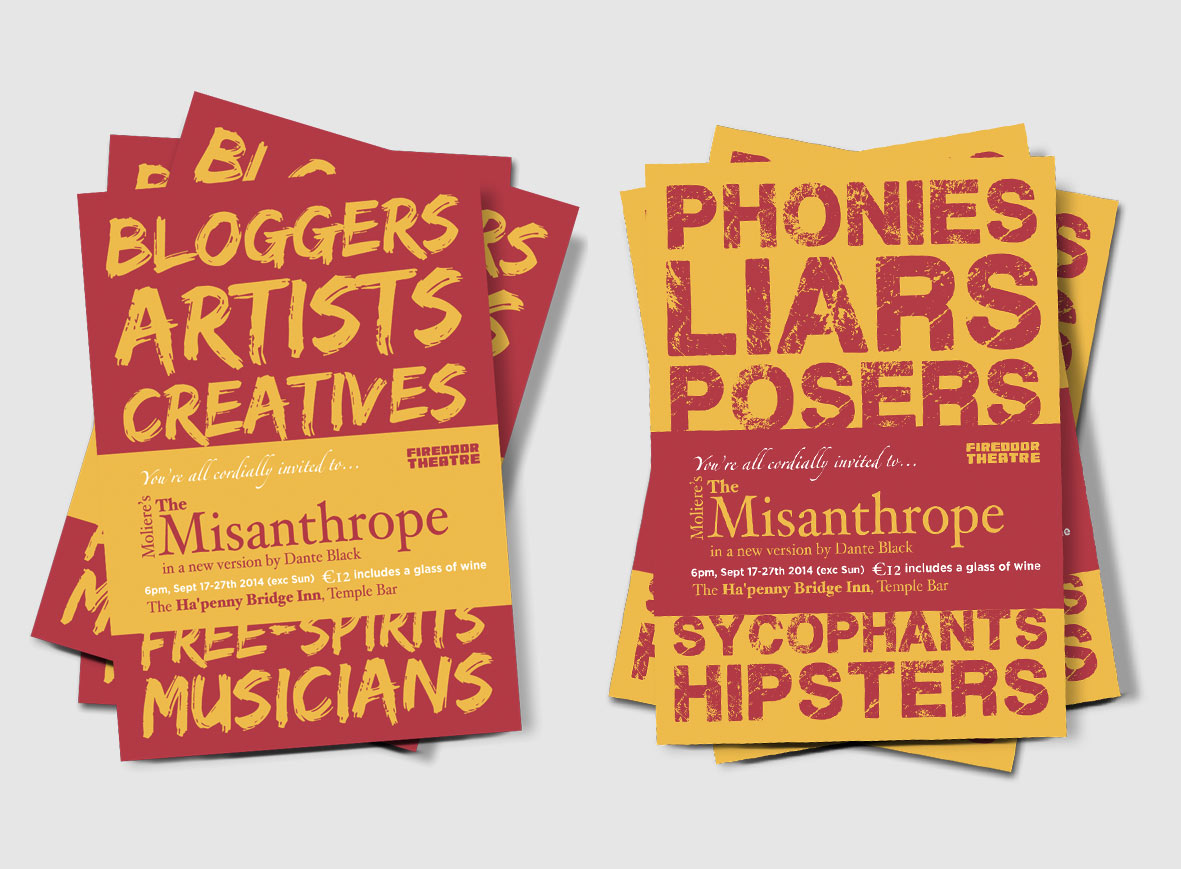 Flyers for Firedoor Theatre's The Misanthrope