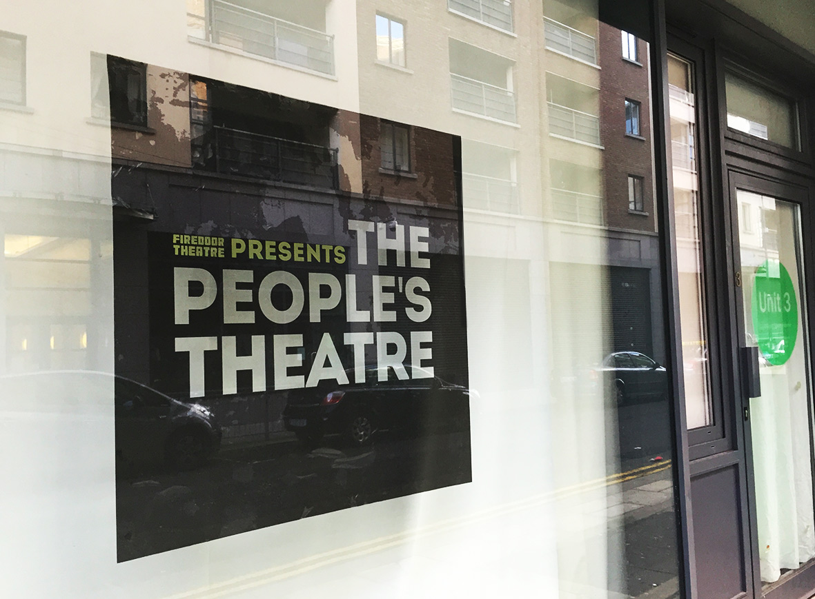 Window signage for The People's Theatre