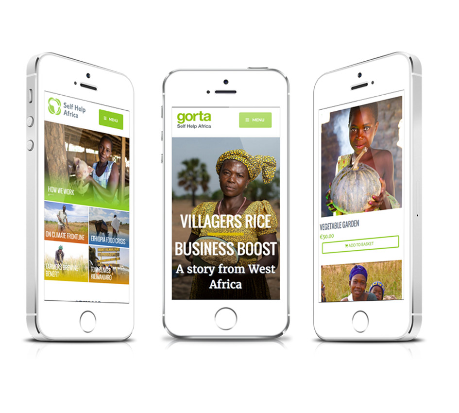 Example of responsive mobile display for selfhelpafrica.org