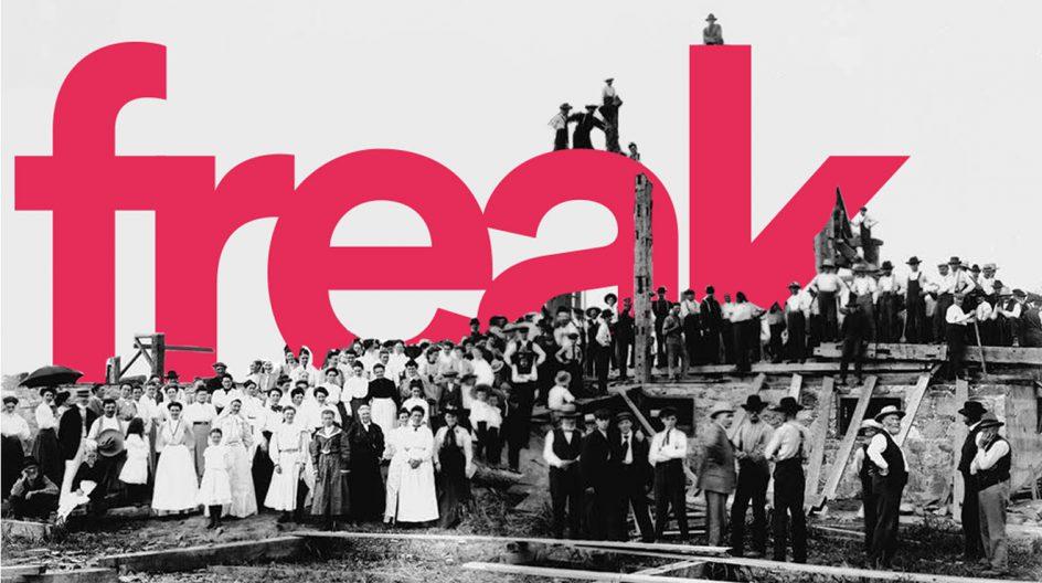 freak.ie launch artwork that's really an old timey barn raising